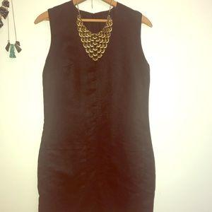 Black suede midi dress